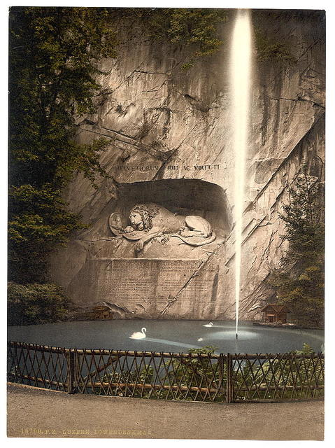 [Lion Monument, and fountain, Lucerne, Switzerland]