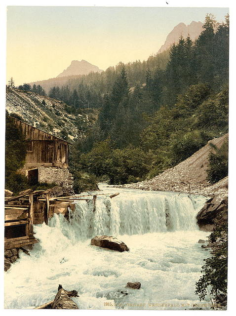 [Lower Engadine, Tarasp, waterfall, Grisons, Switzerland]