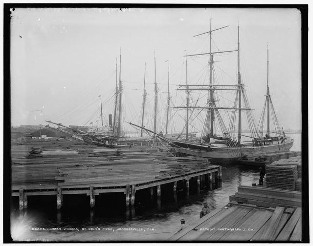 Lumber wharfs, St. John's River, Jacksonville, Fla.