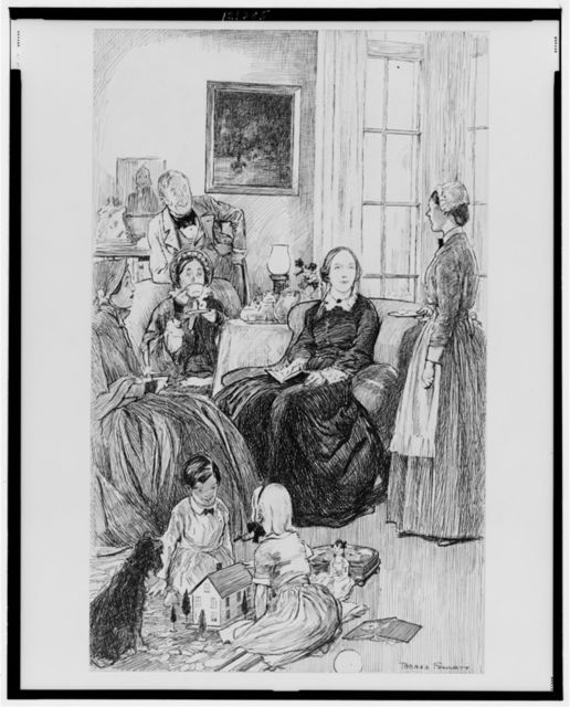[Maid bringing card to people having tea; two children on the floor playing]