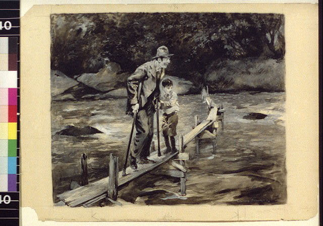 [Man and boy on a narrow bridge]