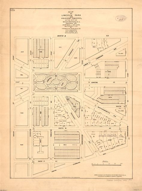 Map of Lincoln Park and adjacent squares in the city of Washington, D.C. /