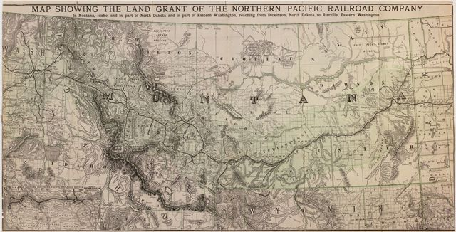 Map showing the land grant of the Northern Pacific Railroad Company in Montana, Idaho, and in part of North Dakota, and in part of eastern Washington, reaching from Dickinson, North Dakota, to Ritzville, eastern Washington.