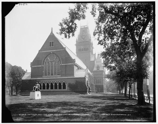 Memorial Hall and John Harvard Statue, Harvard College