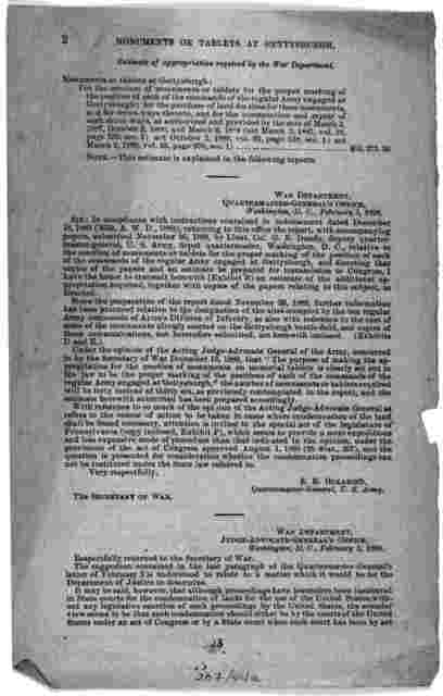 Monuments or tablets at Gettysburgh. Letter from the secretary of the Treasury, transmitting an estimate from the secretary of war providing for monuments or tablets at Gettysburgh. February 14, 1890. Referred to the committee on appropriations.