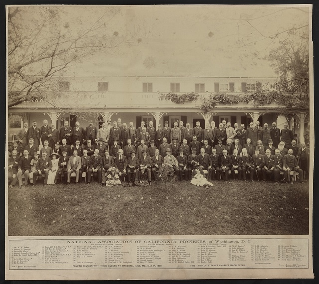 National Association of California Pioneers of Washington, D.C., fourth reunion with their guests at Marshall Hall, MD., May 14, 1890.  First trip of steamer Charles Macalester / Jos. E. Bishop, Wm. Cruikshank, photographers.