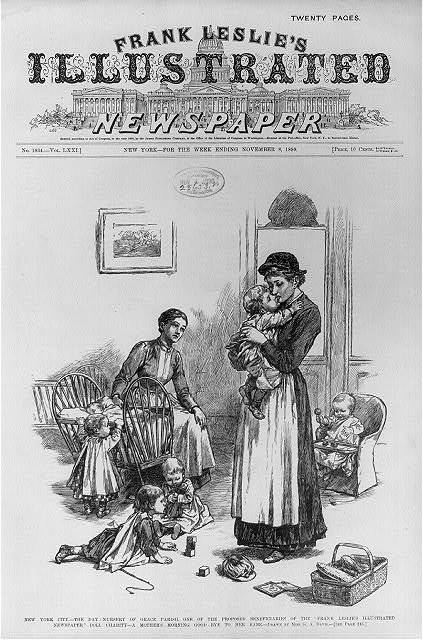 "New York City - The day nursery of Grace Parish, one of the proposed beneficiaries of the ""Frank Leslie's Illustrated Newspaper"" doll charity - A mother's morning good-bye to her babe"
