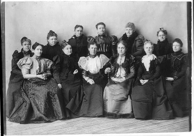 Officers of the Mothers' Congress, Feb. 7, 1897, Wash., D.C. Phoebe Apperson Hearst, 3rd from right, 1st row - Letitia Green Stevenson, wife of Vice President Adlai Stevenson, 2nd from left, 1st row
