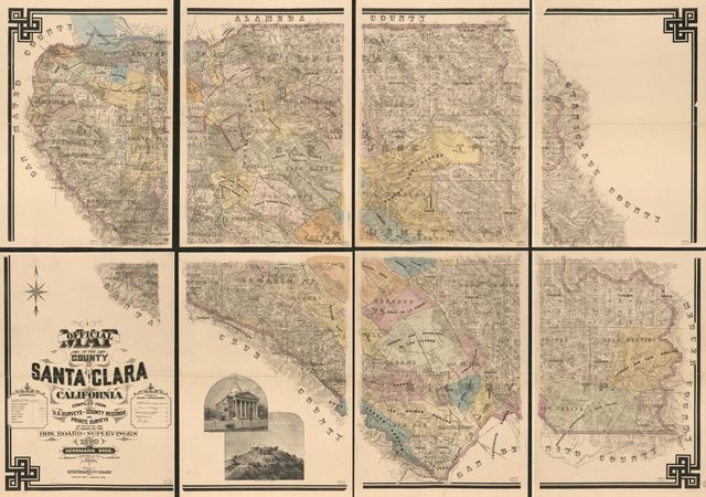 Official map of the County of Santa Clara, California : compiled from U.S. surveys, county records, and private surveys and the tax-list of 1889, by order of the Hon. Board of Supervisors /