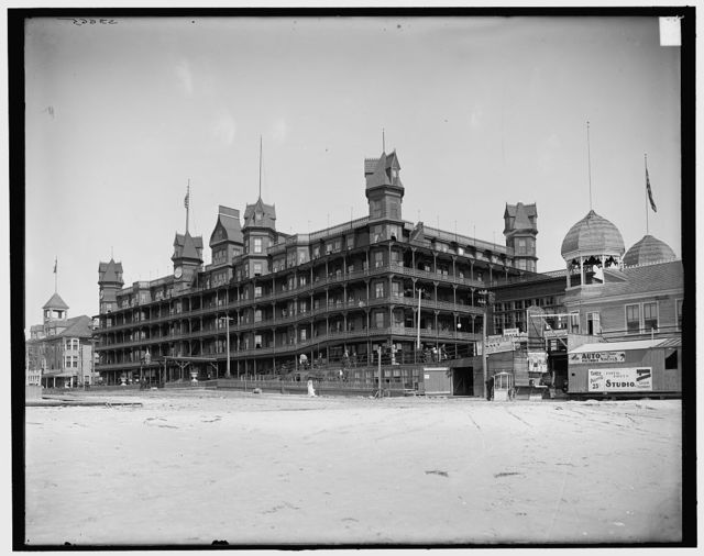 [Old Orchard, Me., Hotel Velvet from beach]