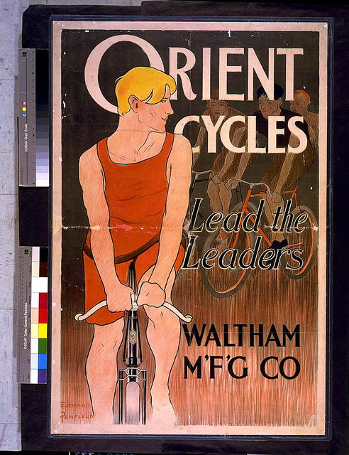 Orient cycles lead the leaders. Waltham M'f'g' Co. / Edward Penfield.