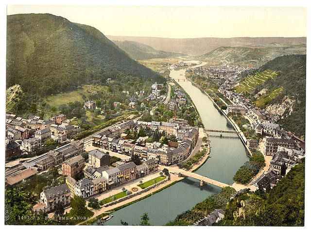 [Panorama, Ems (i.e., Bad Ems), the Rhine, Germany]