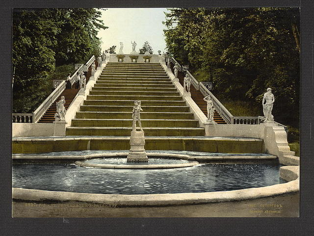[Peterhof golden stair, St. Petersburg, Russia]