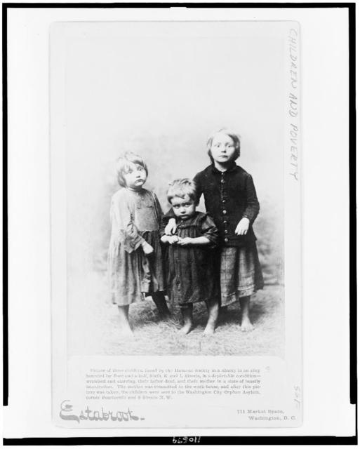 Picture of three children found by the Humane Society in a shanty in an alley bounded by Four-and-a-half, Sixth, K and L Streets, in a deplorable condition--wretched and starving, their father dead, and their mother in a state of beastly intoxication / Estabrook, Washington, D.C.