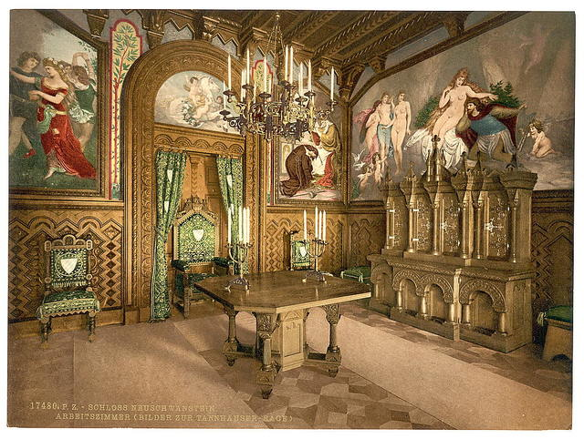 [Pictures of the Tannhauser story, Arbeitszimmer, Neuschwanstein Castle, Upper Bavaria, Germany]