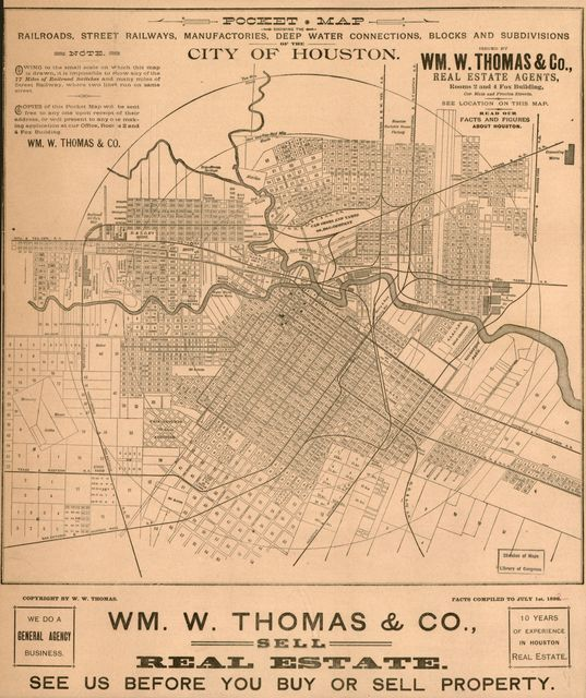 Pocket map showing the railroads, street railways, manufactories, deep water connections, blocks and subdivisions of the city of Houston /