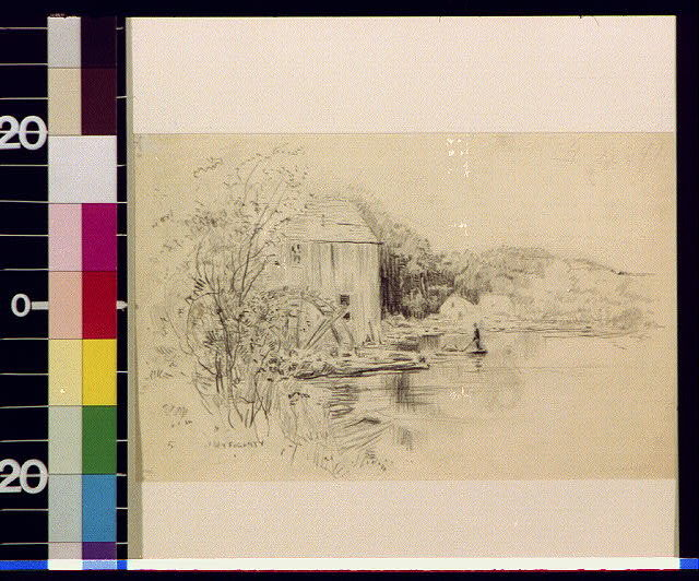 [Pond, mill with wheel, and man in punt]