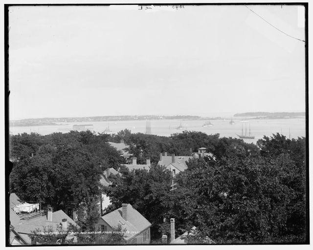 Portland Maine and harbor from Munjoy's Hill