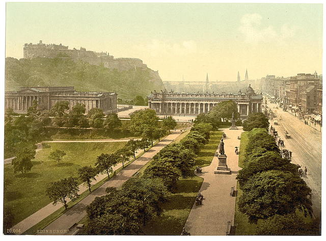 [Princess Street (i.e. Princes Street) and castle from Scott's Monument, Edinburgh, Scotland]