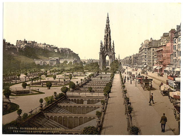 [Princess Street (i.e. Princes Street), the castle, and Scott Monument, Edinburgh, Scotland]