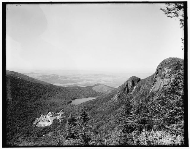 [Profile House and Echo Lake from Eagle Cliff, Franconia Notch, White Mountains, New Hampshire]