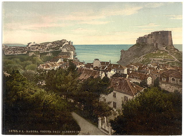 [Ragusa, view from the Imperial Hotel, Dalmatia, Austro-Hungary]