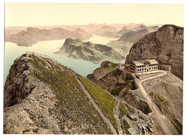 [Railway, from Oberhaupt, towards Lake of Four Cantons, with Old Hotel and Esel, Pilatus, Switzerland]