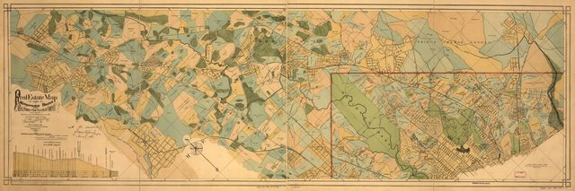 Real estate map of the Metropolitan Branch of the Baltimore and Ohio Railroad Company between Washington, D.C., and Rockville, Md., and adjacent land holdings : from latest official authorities & actual surveys /