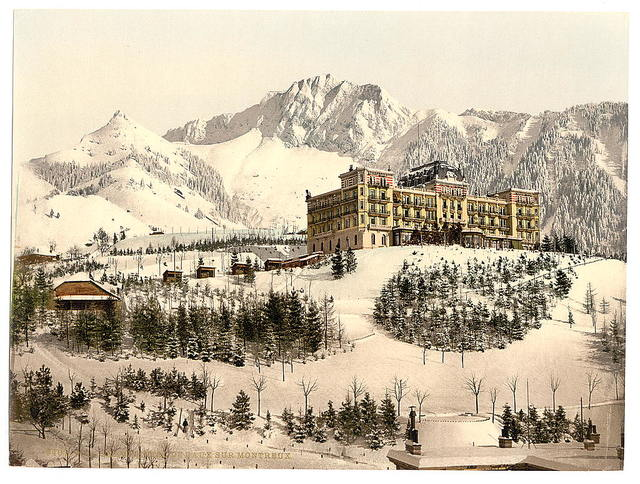 [Rochers de Naye, and Hotel de Caux, in winter, Geneva Lake, Switzerland]