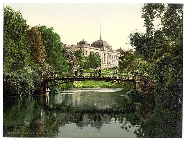 [Scene in the Botanical Gardens with Director of Customs Building, Hamburg, Germany]