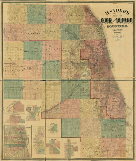 Snyder's real estate map of Cook and Dupage Counties, Illinois.