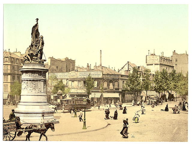 [Street scene and monument, in the Place Clichy, Paris, France]