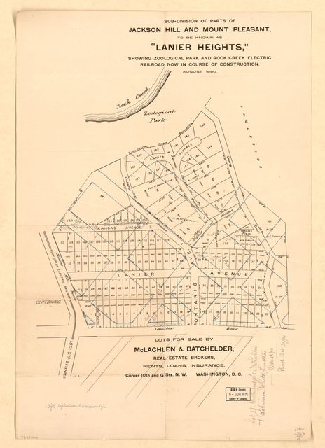 "Sub-division of parts of Jackson Hill and Mount Pleasant, to be known as ""Lanier Heights"" : showing Zoological Park and Rock Creek Electric Railroad now in course of construction, August 1890."
