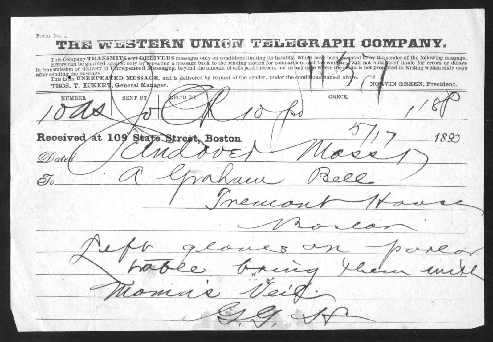 Telegram from Gardiner Greene Hubbard to Alexander Graham Bell, May 17, 1890