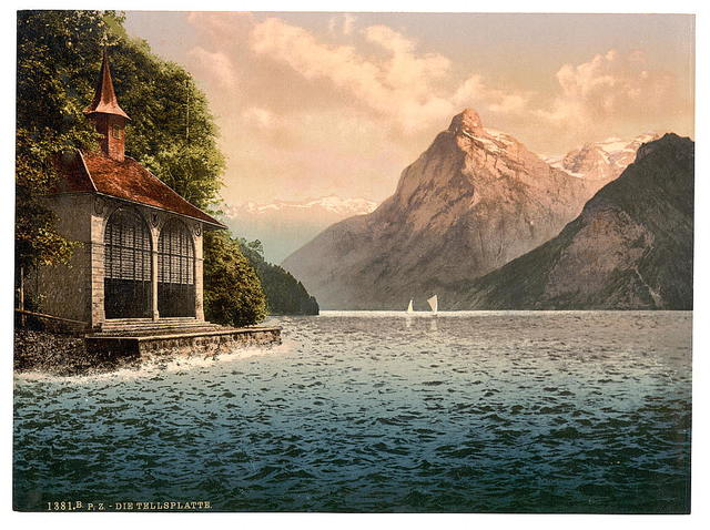 [Tell's Chapel, evening view, Lake Lucerne, Switzerland]
