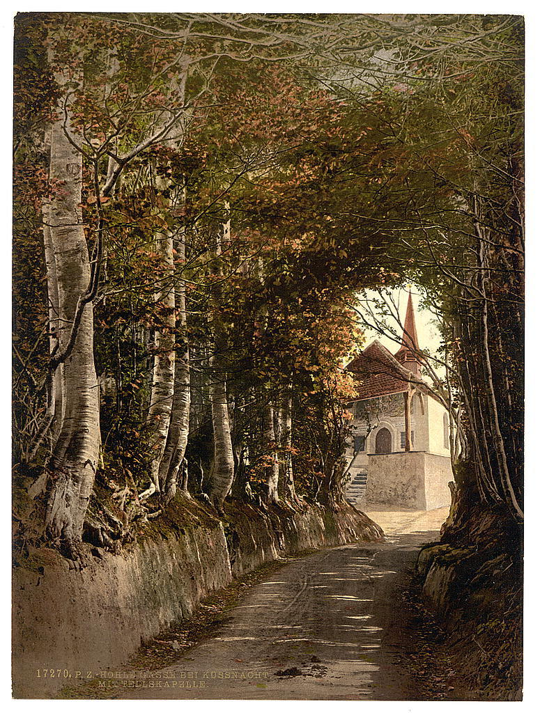[Tell's Chapel, the lane through the woods near Kussnacht, showing the chapel, Lake Lucerne, Switzerland]