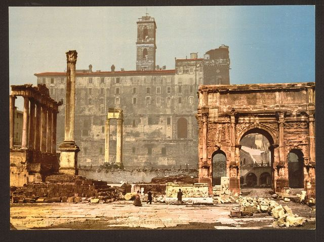 [Temple of Saturn and Triumphal Arch of Septimus Severus, Rome, Italy]