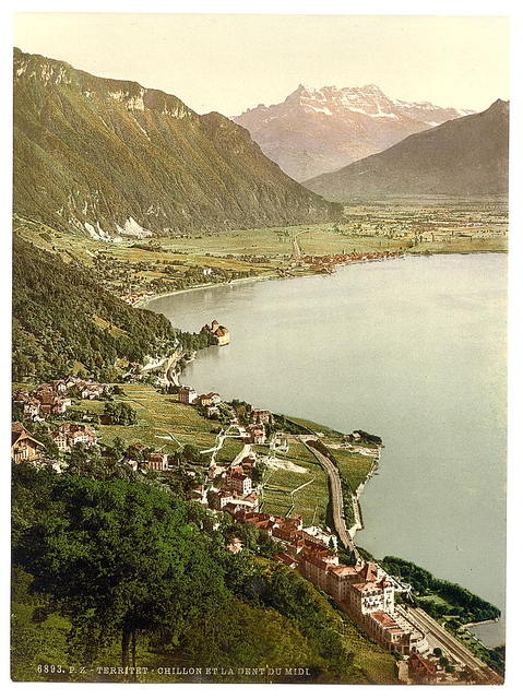 [Territet, Chillon and Dent du Midi, from Glion, Geneva Lake, Switzerland]