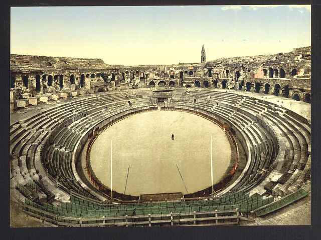 [The arena, interior, Nîmes, France]