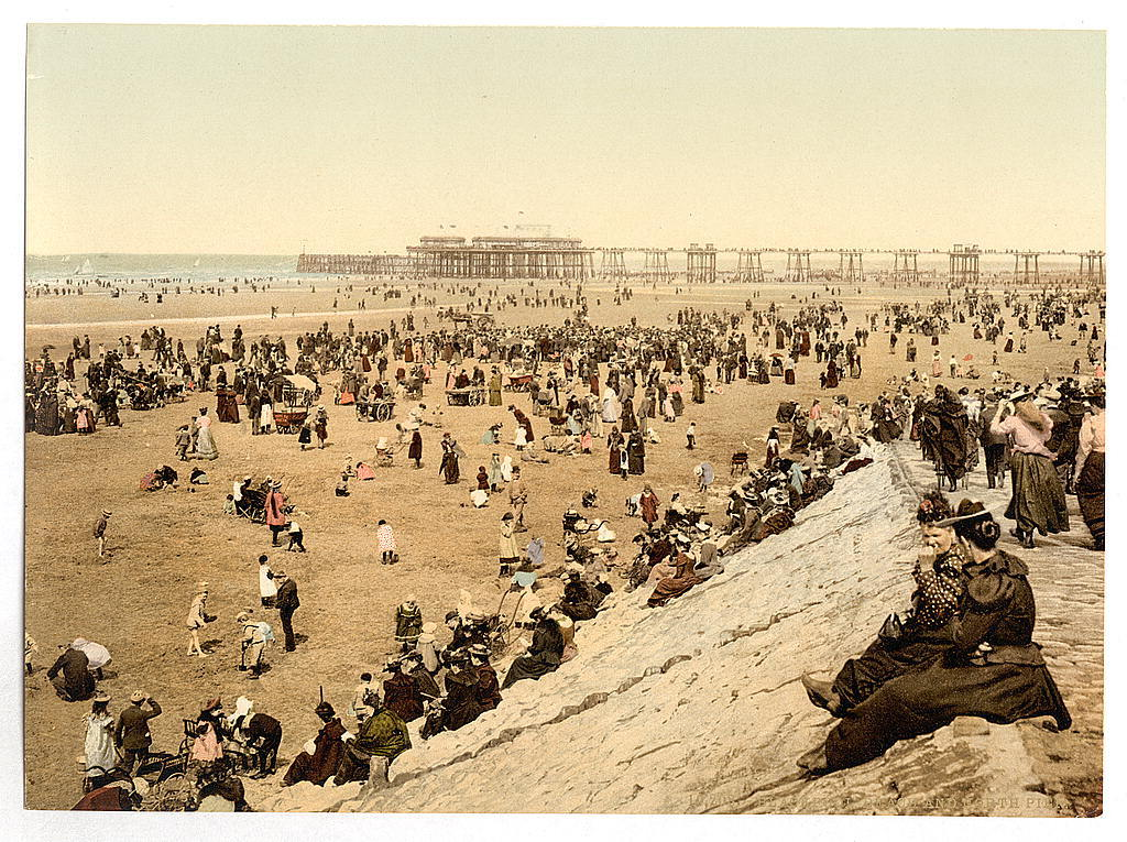 [The beach with North Pier, Blackpool, England]