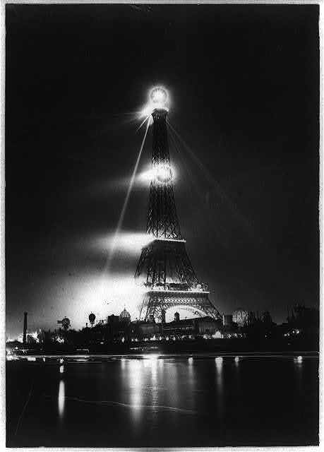 [The Eiffel Tower at night]