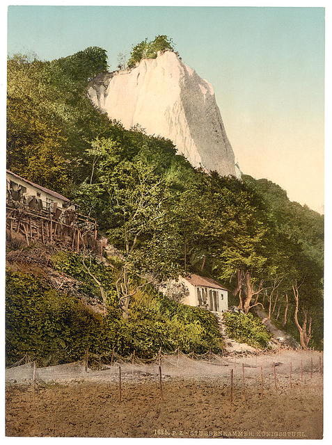 [The Konigsstuhl, with fisher huts, Stubbenkammer, Isle of Rugen, Germany]