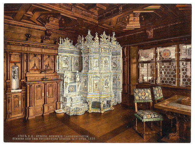 [The museum, room from the Seidenhofe, with oven, Zurich, Switzerland]
