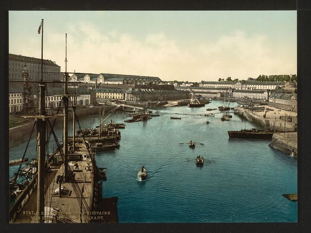 [The Port Militaire from swing bridge, Brest, France]