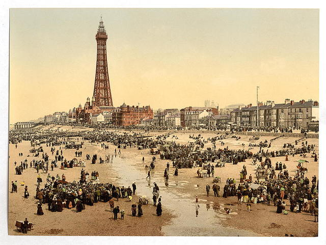 [The Promenade and Tower from South Pier, Blackpool, England]