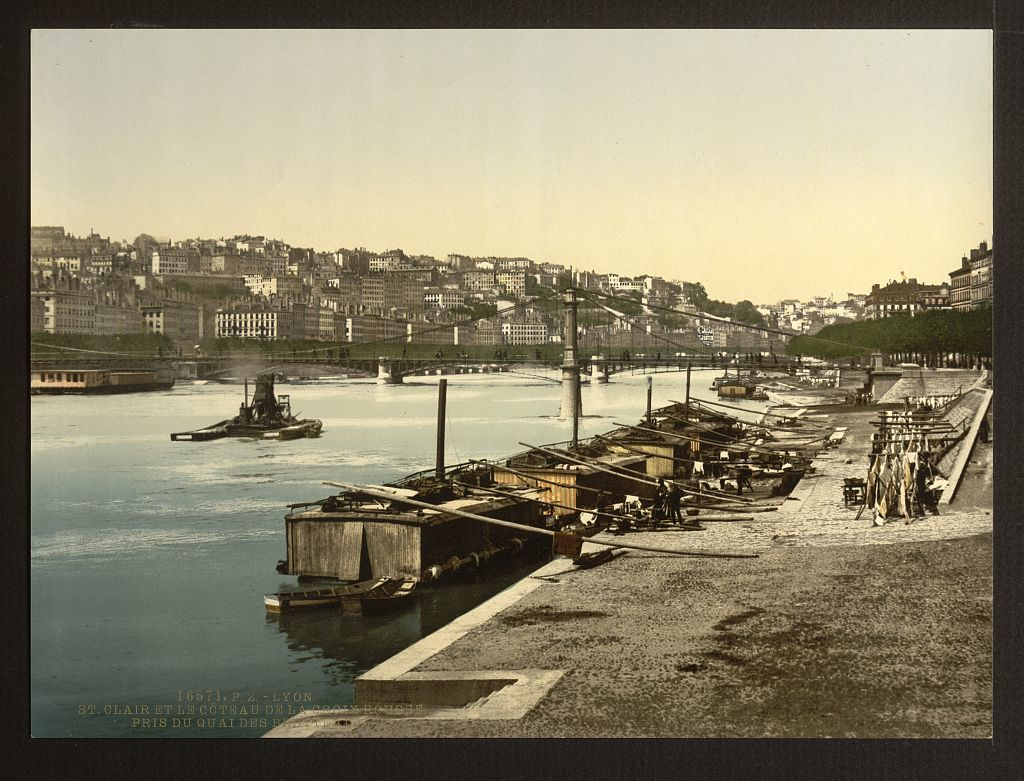[The St. Clair and hill of the Red Cross from the Quay, Brotteaux, Lyons, France]