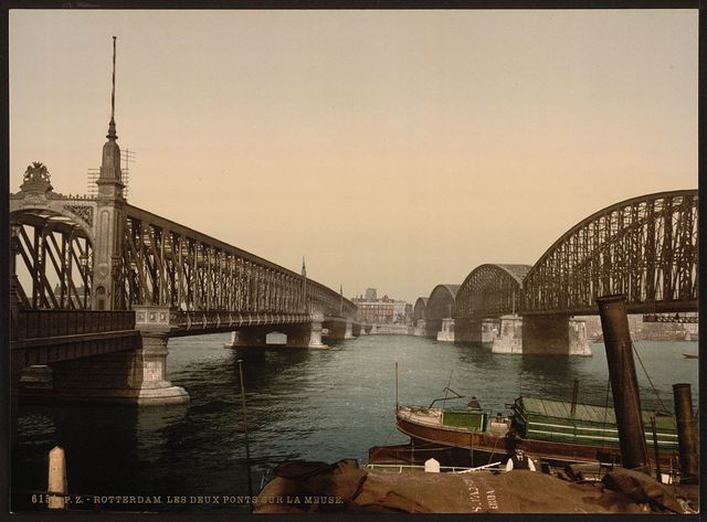 [The two bridges on the Meuse, Rotterdam, Holland]