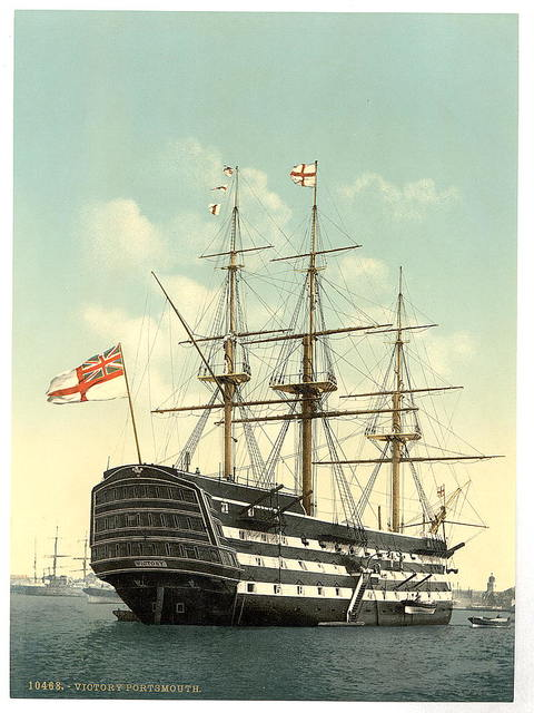 """[The """"Victory"""" (Nelson's Flagship), stern, Portsmouth, England]"""