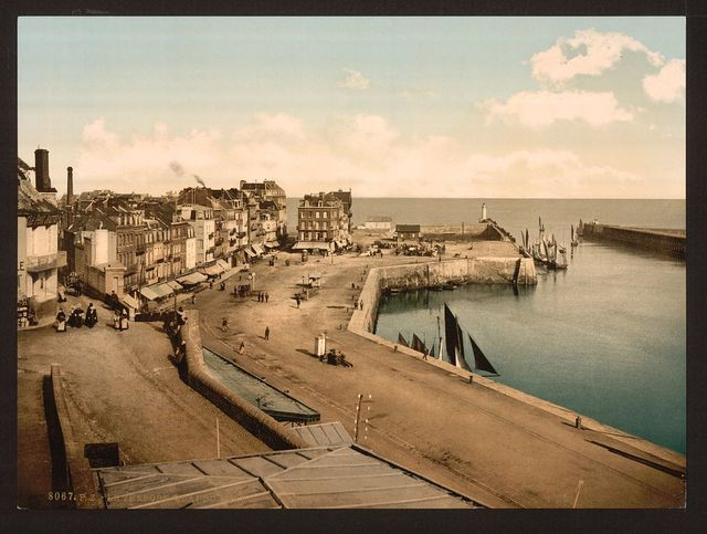[The wharf from the harbor, Tréport, France]