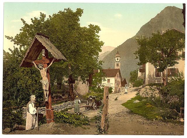 "[Tyrol Village (""Village with crucifix""), Tyrol, Austro-Hungary]"